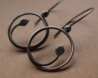 Le Petite Leaf Hoops ...Oxidized Version... Sterling Silver