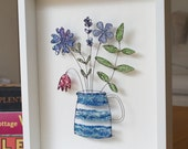 Wildflower Bouquet wire framed picture