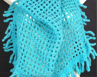 Turquoise Crochet Scarf, Crochet Triangle Scarf, Turquoise Scarf with Fringes, CENTIPEDE Tie Scarf Around Neck, Crochet Scarf