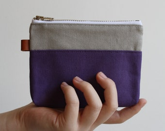 small zipper pouch - smokey + purple gum