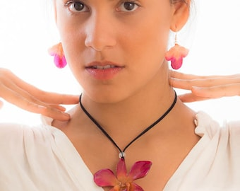Purple-Pink Dendrobium Orchid Necklace and Earrings set