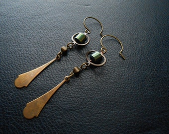 covet - green titanium anodized pyrite drop earrings - copper space galaxy jewelry - fall festival fashion under 25 dollars