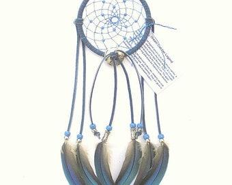Denim Blue Dream Catcher, Macaw Parrot Feathers
