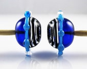 Blue and Black Swirl Hollow Lampwork Glass Bead Pairs