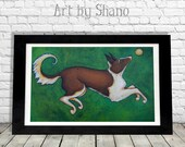 Border Collie Dog Fetch Ball Colorful Art Print from Original Painting by Shano Wall Art Home Red Green Sable Decor with Puppy Pet