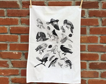 BIRDS OF COLORADO - flour sack tea towel cotton screenprinted with black ink white fabric