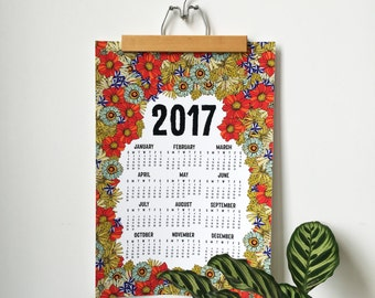 2017 wall calendar-13 x 19 poster-Native Flowers edition