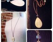 Labradorite and Brass Teardrop Pendant Necklace - layering necklave - gemstone - healing gemstone - forged metal