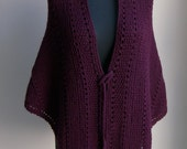 Hand Knit Large Shawl Wrap, Regal Burgundy, Stylish Comfort Prayer Meditation, Triangle, Soft Merino, Ready to Ship FREE SHIPPING