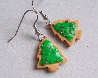 Christmas Tree Cookie Dangle Earrings - polymer clay miniature food jewelry