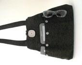 black handbag, shoulder bag, tote bag, hobo bag, black tote, fabric purse, everyday bag, Chenille purse,