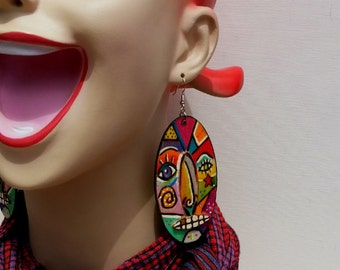 Face Time Abstract Earring  A