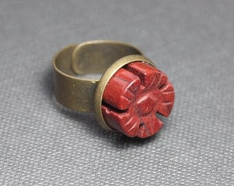 Red Jasper Flower Ring Antiqued Brass Red Gemstone Cabochon Adjustable Ring