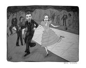 George and Mary dance the charleston ... Ode to It's a Wonderful Life ... holiday print ... Special Price for the Holidays
