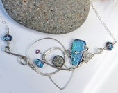 Sterling Silver Necklace -  Designer Necklace- Beaded- Handmade- Wire Wrapped- Blue Dichroic Glass