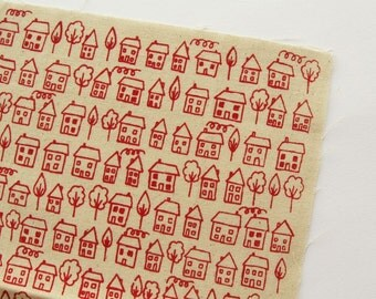 Avenue - Red - Hand Screenprinted Fabric - Summersville - 9.5 x 14 inches - Houses - Destash