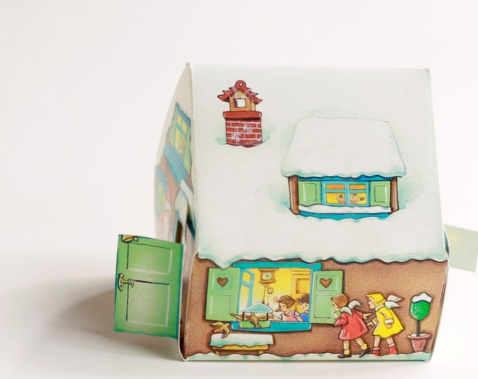 CHRISTMAS CANDY BOX Snow covered Cottage filled with Candy