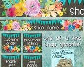 Chalkboard floral Etsy shop Banner graphics set by Sea Dream Studio  OOAK