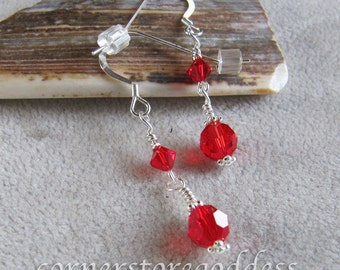 Swarovski Crystal Red Sparkle Earrings