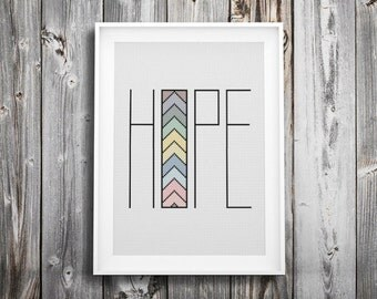 hope hipster modern cross stitch pattern ++ retro triangle arrow mosaic ++ pdf INsTAnT DOwNLoAD ++ diy hipster ++ handmade design