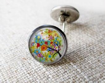 Stud Earrings. Tree of Life Post Earrings. Silver Post Earrings. Colourful Colorful Earrings. Antique Bronze Earrings. Jewelry for Her