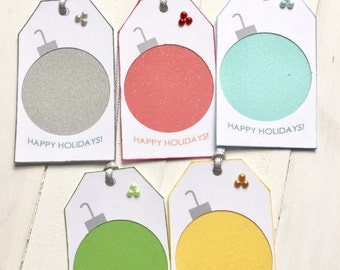 5 Shimmery Christmas Bulb Gift Tags Two Layers, Silver Ribbon and Pearls