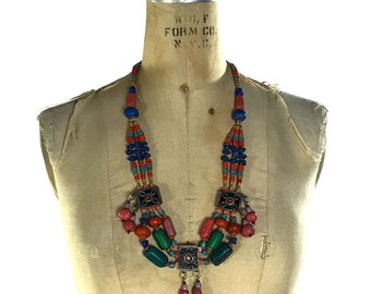Tribal Trade Beads Necklace / Vintage Moroccan Handmade Clay & Venetian Glass Beads / Nomadic Amulets / Berber Amazigh North Africa Boho