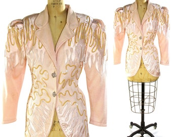 Cache Sequinned Knit Jacket / Vintage 1980s Pink Sweater Blazer with Sequins & Silk Applique / Epic Sleeves