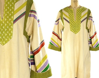 Bohemian Caftan with Ribbon Applique / Vintage 1960s Handmade Art to Wear / Ethnic / Folk / Peasant / Hippie Festival / Artisan Tunic Dress