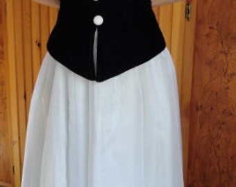 Black and White Prom Dress or Gown velvety bodice by Roberta