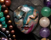 Bohemian Swirls Face Cab Handmade Polymer Clay Cabochon beading supply, art doll part, collage