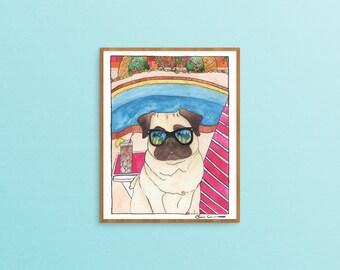 Pug Dog Lover Art Gift, Dog Lover Gifts For Men, Funny Animal Art Print, Retirement Gift For Her, Palm Springs,Best Dog Lover Gift,Pug Print