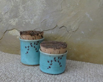 Mini Canister Jar Set of 2- Handmade Stoneware Pottery Ceramic - Blue Celadon and Charcoal Grey - Ginkgo