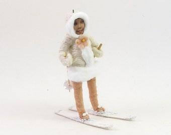 Vintage Inspired Spun Cotton Pink And White Skier Figure/Ornament