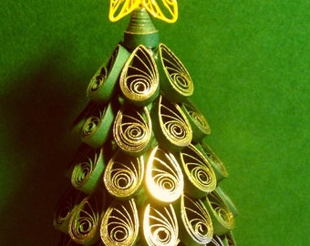 Quilling, Golden, Miniature Christmas Tree