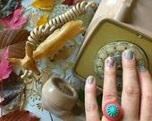 Vintage Button Ring - coral + aqua