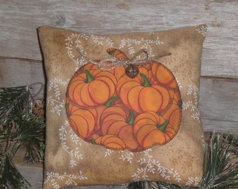 1 Primitive Rustic Halloween Pumpkin Fall Harvest Bowl Filler Ornie Ornament Mini Pillow Tuck Shelf Sitter