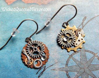 Titanium Steampunk Gear Earrings, Hypoallergenic Ear Wires, Bronze and Copper Gears, Steampunk Jewelry, Steam Punk Cosplay, Gears and Cogs