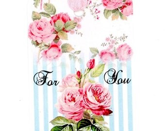 Aqua Stripes and Pink Roses Gift Tags , For You , Rose Gift Cards , Bluebird Lane Tags , Aqua and Pink