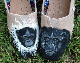 Painted Toms Shoes, Custom Slip-ons, Chimpanzees, Orangutang, Painted from Pictures for Primate Zoo Keeper Gift, Rain Forest Animal Lover