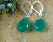 GREEN CHALCEDONY EARRINGS Gold fill with faceted chalcedony gemstone drop
