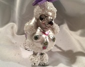 White Poodle Glass Christmas Ornament with Handmade Hanger and Swarovski Crystal Beads. LAST ONE