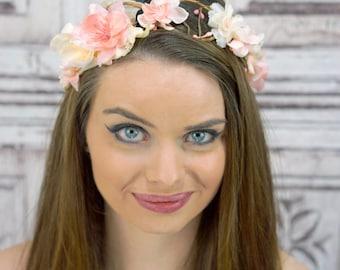 Bridal Head Piece, Gold and Pinks Bridal Crown, Bridal Flower Circlet, Boho Hair Wreath, Woodland Bridal Crown