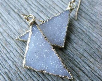 TRIANGLE white drusy geometric earrings fine crystal druzy gold filled
