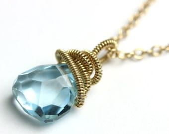 Faceted Blue Topaz Necklace with Gold Fill Coils