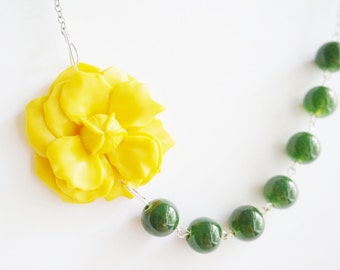 Forest Green Jewelry,Yellow Flower Necklace,Yellow Necklace,Forest Green Necklace,Statement Necklace,Bridesmaid Jewelry Set,Bridesmaid Set