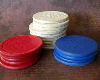 """Game Pieces POKER CHIPS Noiseless Cardboard with Fleur de Lis design lot of 19 red white and blue 1-1/2"""""""
