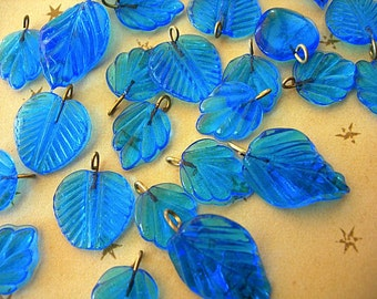 Pressed Glass Leaf Charms brass metal loops TEAL CYAN BLUE lot of 12 leaves assorted styles