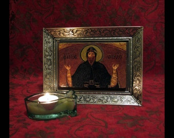 CHRISTOS Orthodox Holy Icon Hagiography on Aged Wood, Mounted on Silk Archival Board, Set Into Ornate Metal Frame | Spiritual Art Assemblage