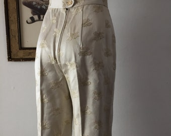 Ivory Brocade High Waisted Wide Leg Trousers